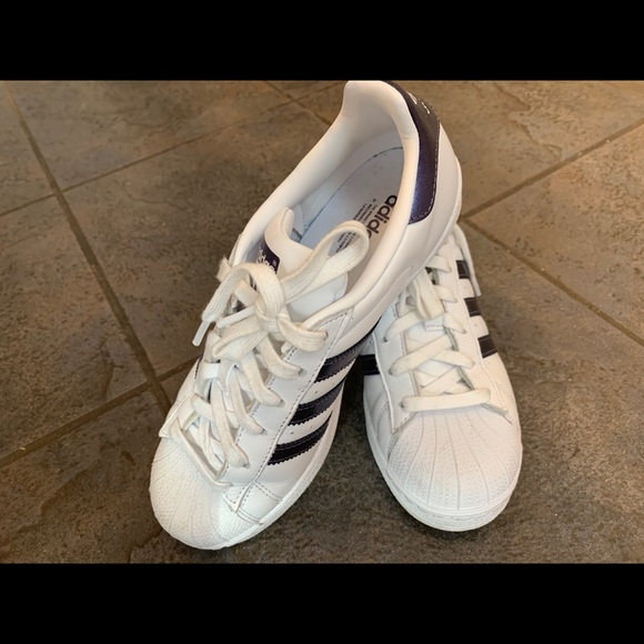 Adidas Superstar White Navy Metallic
